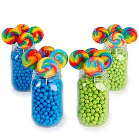 Blue Lime Green Mason Jar Candy Decor Kit