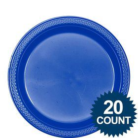"Blue Plastic 9"" Plates (Set of 20)"