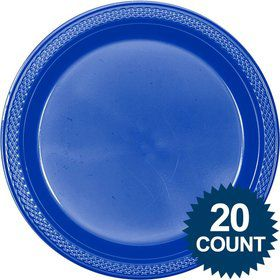 "Blue Plastic Plates, 10"" (20 count)"