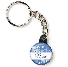 "Blue Snowflake Personalized 1"" Mini Key Chain (Each)"