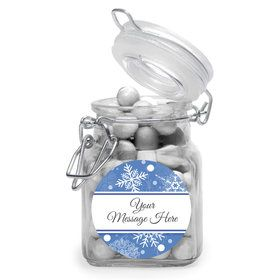 Blue Snowflake Personalized Glass Apothecary Jars (12 Count)