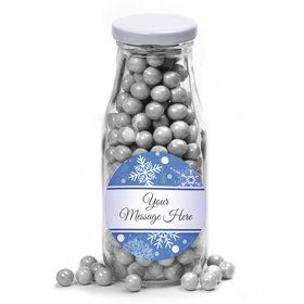 Blue Snowflake Personalized Glass Milk Bottles (12 Count)