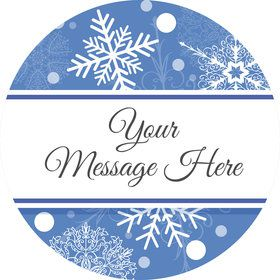 Blue Snowflake Personalized Mini Stickers (Sheet of 24)