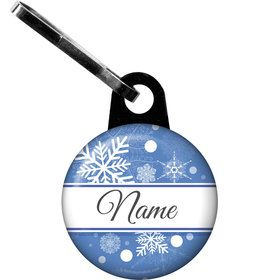 Blue Snowflake Personalized Zipper Pull (Each)