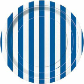 "Blue Stripe 7"" Cake Plates (8 Pack)"