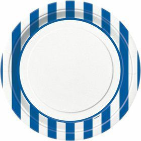 "Blue Stripe 9"" Luncheon Plates (8 Pack)"
