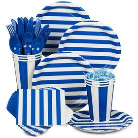 Blue Stripe Standard Tableware Kit Serves 8