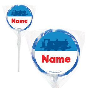 "Blue Tank Engine Personalized 2"" Lollipops (20 Pack)"