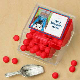 Blue Tank Engine Personalized Candy Bin with Candy Scoop (10 Count)