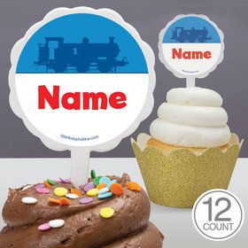 Blue Tank Engine Personalized Cupcake Picks (12 Count)