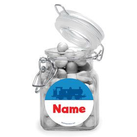 Blue Tank Engine Personalized Glass Apothecary Jars (12 Count)