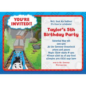 Blue Tank Engine Personalized Invitation (Each)