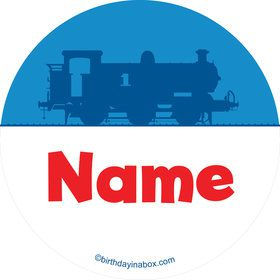Blue Tank Engine Personalized Mini Stickers (Sheet of 24)