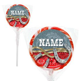 "Blue Western Personalized 2"" Lollipops (20 Pack)"
