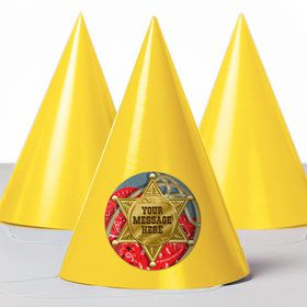 Blue Western Personalized Party Hats (8 Count)