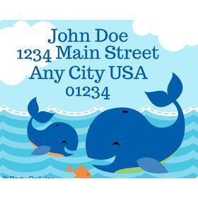 Blue Whale Personalized Address Labels (Sheet of 15)
