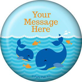 Blue Whale Personalized Button (Each)