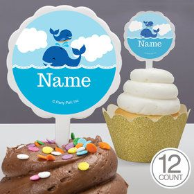 Blue Whale Personalized Cupcake Picks (12 Count)