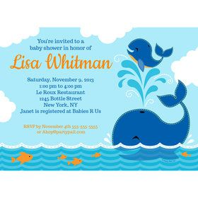 Blue Whale Personalized Invitation (Each)