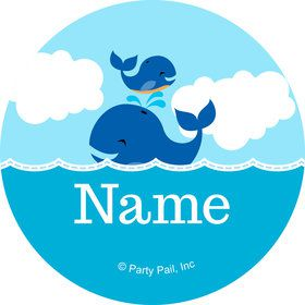 Blue Whale Personalized Mini Stickers (Sheet of 20)