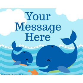 Blue Whale Personalized Rectangular Stickers (Sheet of 15)
