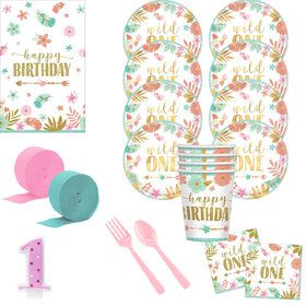 Boho 1st Birthday Girl Deluxe Tableware Kit (Serves 8)