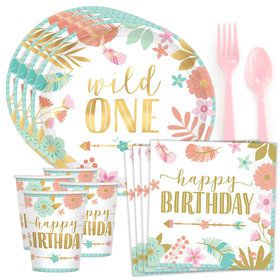 Boho 1st Birthday Girl Standard Tableware Kit (Serves 8)