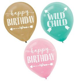 "Boho Birthday Girl 12"" Latex Balloon (15)"
