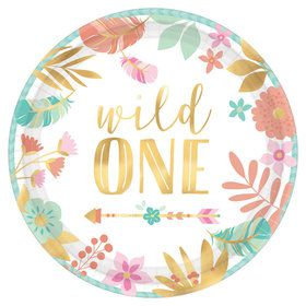 "Boho Birthday Girl 1st 7"" Dessert Plate (8)"