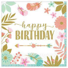 Boho Birthday Girl Lunch Napkin (16)