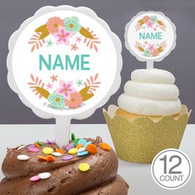 Boho Birthday Girl Personalized Cupcake Picks (12 Count)