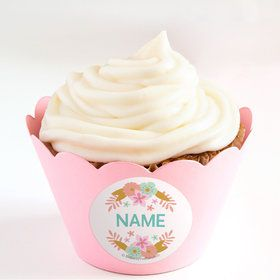 Boho Birthday Girl Personalized Cupcake Wrappers (Set of 24)