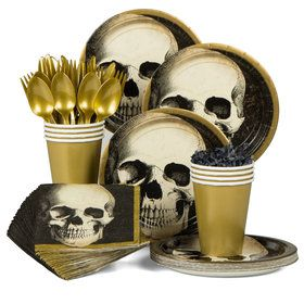 Boneyard Halloween Standard Tableware Kit (Serves 60)