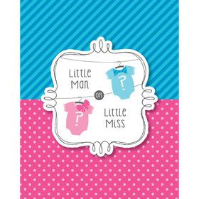 Bow or Bowtie Gender Reveal Party Invitations (8 Count)