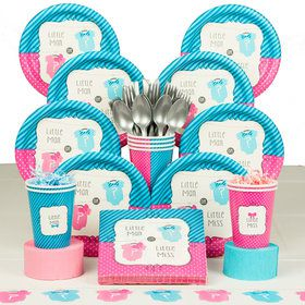 Bow Or Bowtie Gender Reveal Deluxe Tableware Kit (Serves 8)