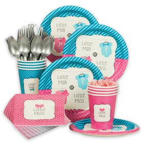 Bow Or Bowtie Gender Reveal Standard Tableware Kit (Serves 8)