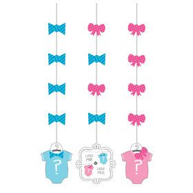 Bow or Bowtie Hanging Decorations (3 Count)