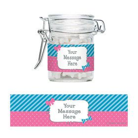 Bow or Bowtie Gender Reveal Personalized Glass Apothecary Jars (12 Count)
