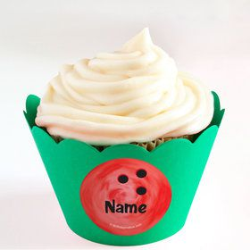 Bowling Personalized Cupcake Wrappers (Set of 24)