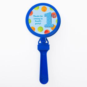 Boys Polka Dot 1st Bday Personalized Clappers (Set of 12)