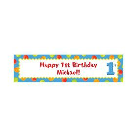 Boys' Polka Dot 1st Birthday Personalize Banner (Each)