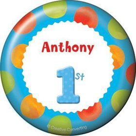 Boys' Polka Dot 1st Birthday Personalized Button (each)