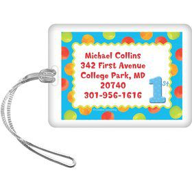 Boys' Polka Dot 1st Birthday Personalized Luggage Tag (each)