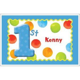 Boys' Polka Dot 1st Birthday Personalized Placemat (each)