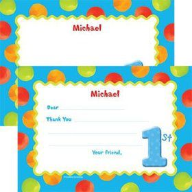 Boys' Polka Dot 1st Birthday Personalized Thank You Note (each)