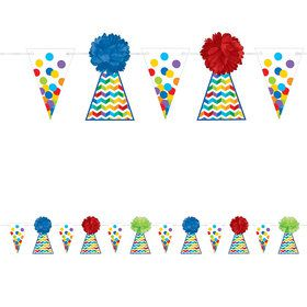 Bright Birthday Hat Fluffy 12' Garland (Each)