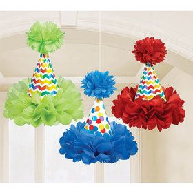 Bright Birthday Hat Fluffy Decorations (Each)