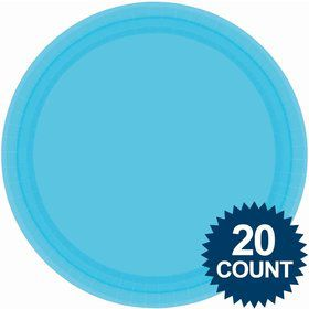 "Bright Blue 10"" Paper Dinner Plates (20 Pack)"