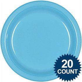 "Bright Blue 10"" Plastic Dinner Plates (20 Pack)"