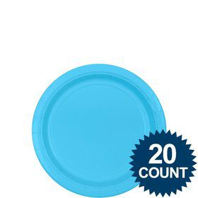 "Bright Blue 7"" Paper Plates, 20 ct."